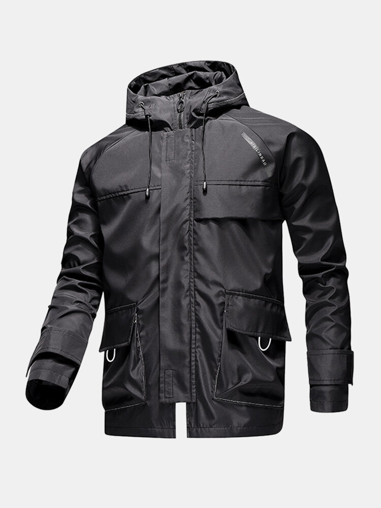 Mens Zip Front Relaxed Fit Drawstring Hooded Jackets With Flap Pockets