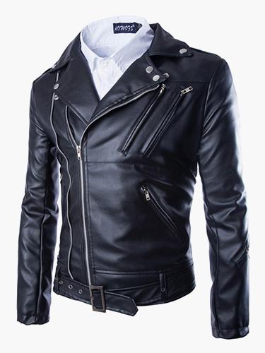 Milanoo Chaqueta de cuero de hombre 2020 con metalica cremallera sobrepelliz chaqueta de moto negra