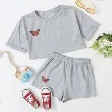 Girls Cuffed Butterfly Print Top & Shorts Set