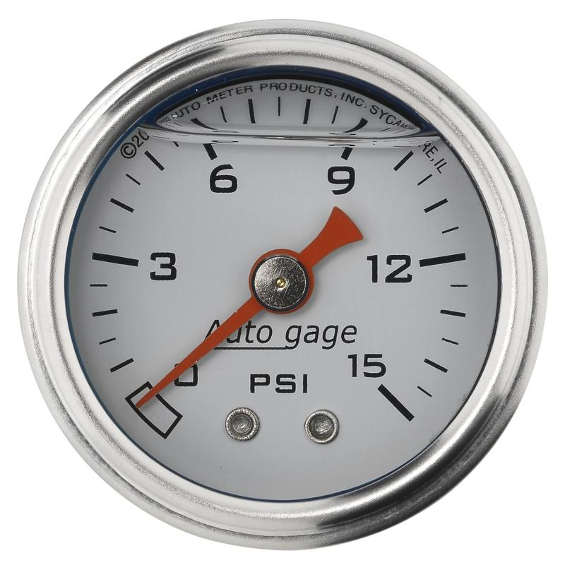 AutoMeter GAUGE; PRESSURE; 1.5in. DIRECT MNT; 15PSI; LIQUID FILLED MECH; WHT; 1/8in. NPTF