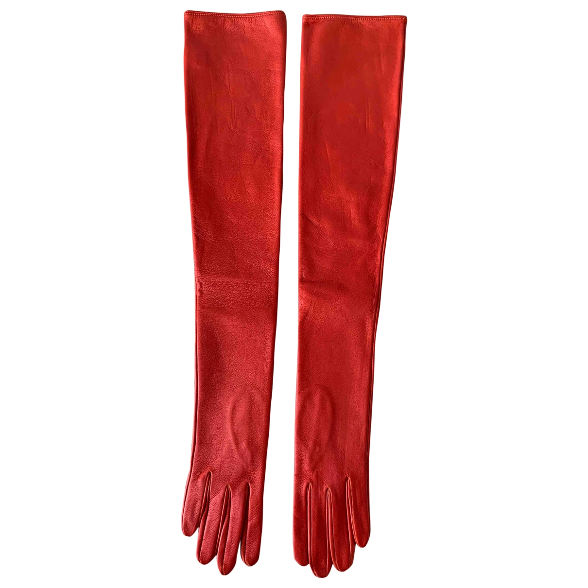Non Signé / Unsigned \N Orange Leather Gloves for Women 7 Inches