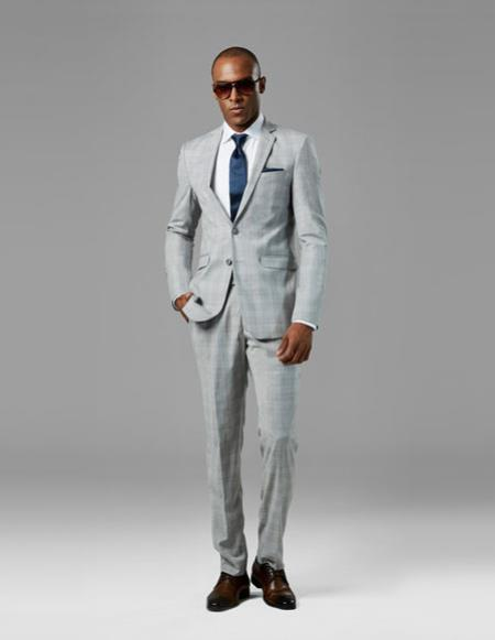 Mens Light Gray best Suit buy one get one suits free plaid Suit