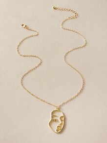 Hollow Out Face Charm Necklace