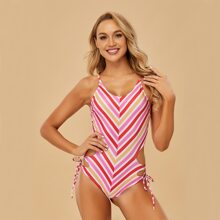 Striped Cut-out Tie Side One Piece Swimsuit