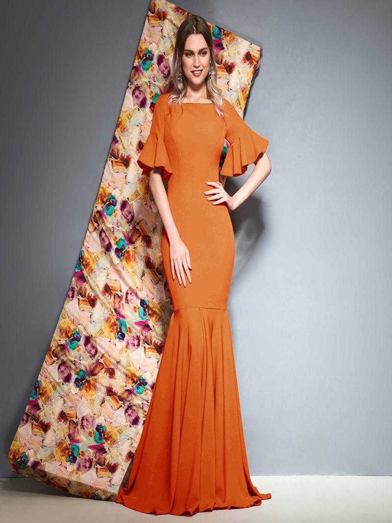 Ericdress Mermaid Short Sleeves Ruffles Evening Dress