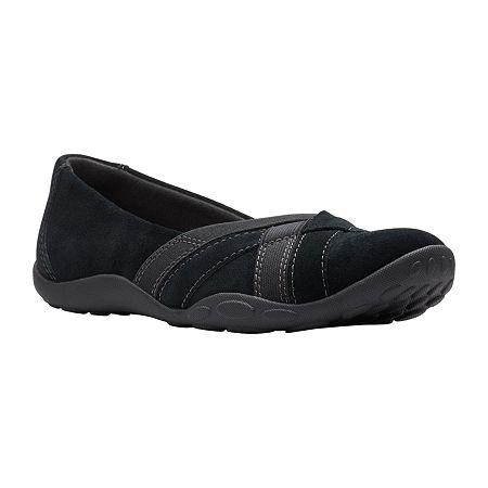 Clarks Womens Haley Jay Slip-On Shoe, 6 1/2 Medium, Black