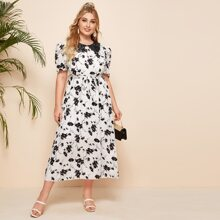 Plus Floral Print Contrast Lace Collar Belted Dress
