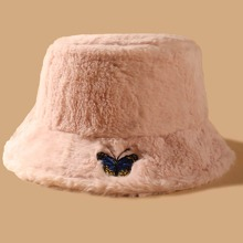 Butterfly Embroidered Plush Bucket Hat