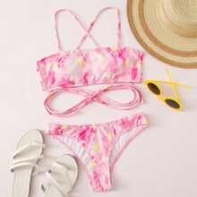 Floral Tie Dye Rib Crisscross Bikini Swimsuit