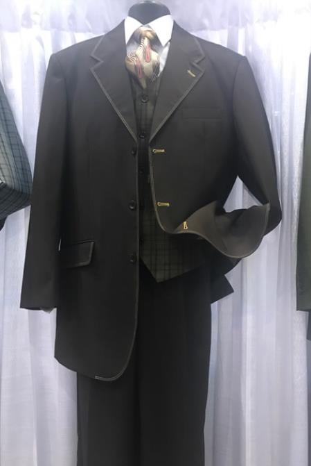 Milano Moda Mens Black High Fashion Vested Suits