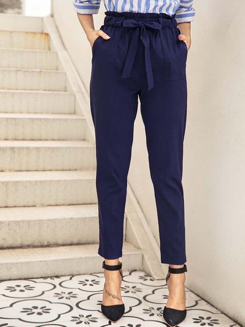 Ericdress Plain Bowknot Slim High Waist Ankle Length Casual Pants