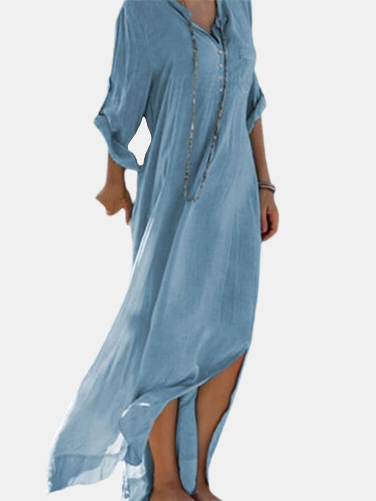 Splited Solid Color Long Sleeve Bandage Maxi Dress For Women