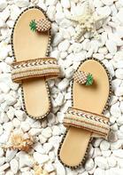 Pineapple Toe Ring Casual Sandals - Light Khaki