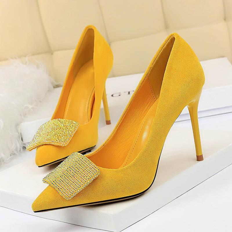 Ericdress Rhinestone Faux Suede Slip-On Stiletto Heel Women's Pumps