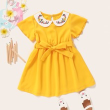 Toddler Girls Floral Embroidered Belted Dress