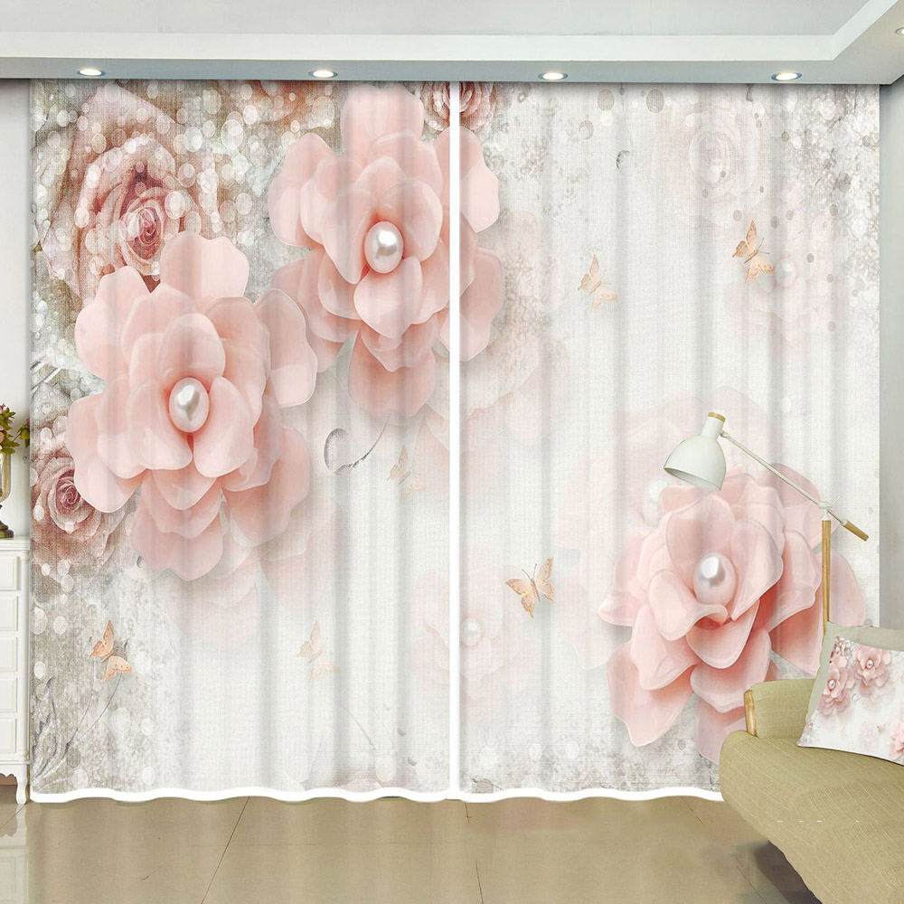 3D Decoration Curtains with Pink Flowers Custom 2 Panels Blackout Drapes No Pilling No Fading No off-lining