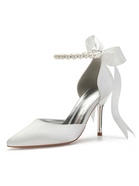 Milanoo Wedding Shoes Satin White Pointed Toe Pearls Back Bow Stiletto Heel Ankle Party Shoes