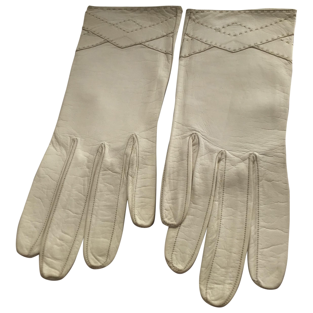 Dior \N White Leather Gloves for Women 6.5 Inches