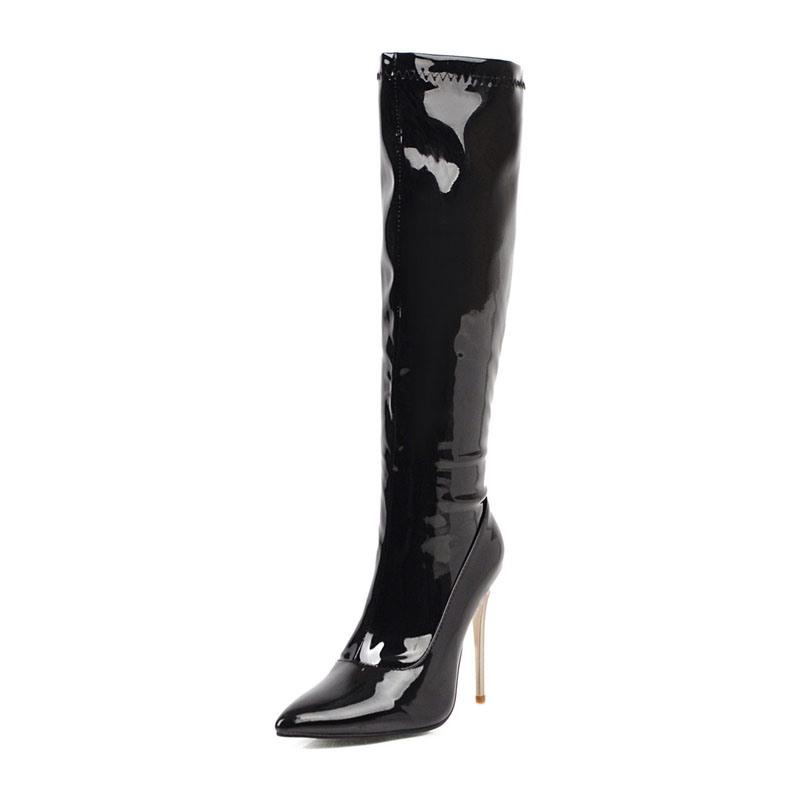 Ericdress Side Zipper Stiletto Heel Pointed Toe Women's Knee High Boots