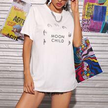 Moon And Slogan Graphic Tee