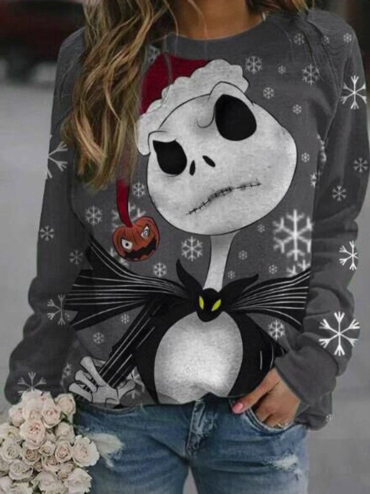 Christmas Cartoon Print O-neck Long Sleeve Sweatshirt