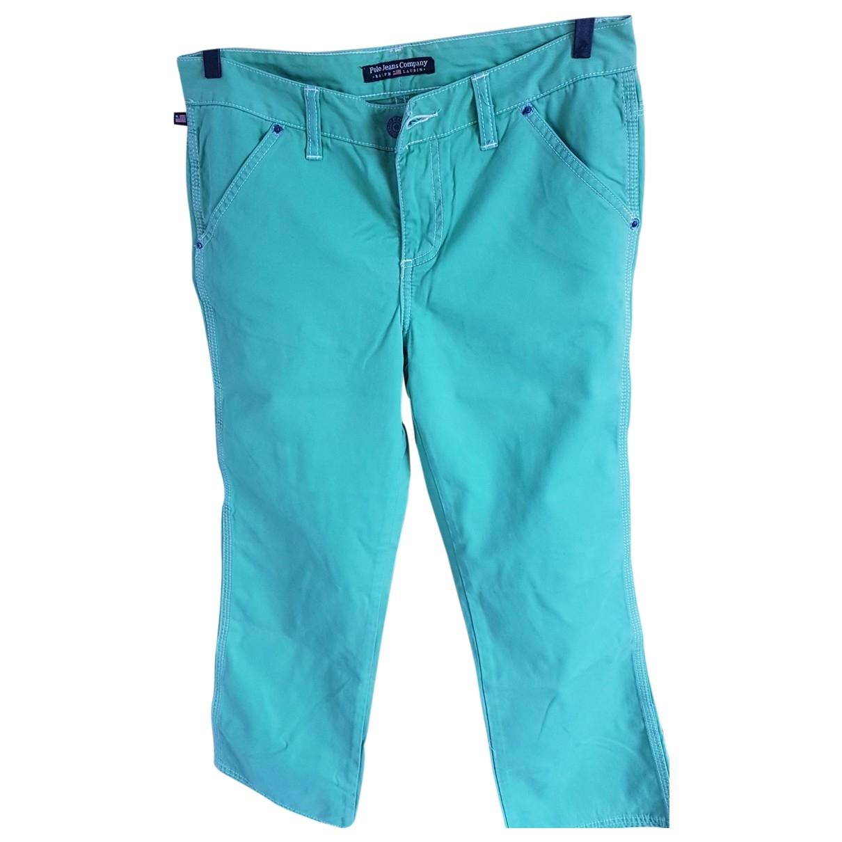 Polo Ralph Lauren \N Green Cotton Trousers for Women 32 FR