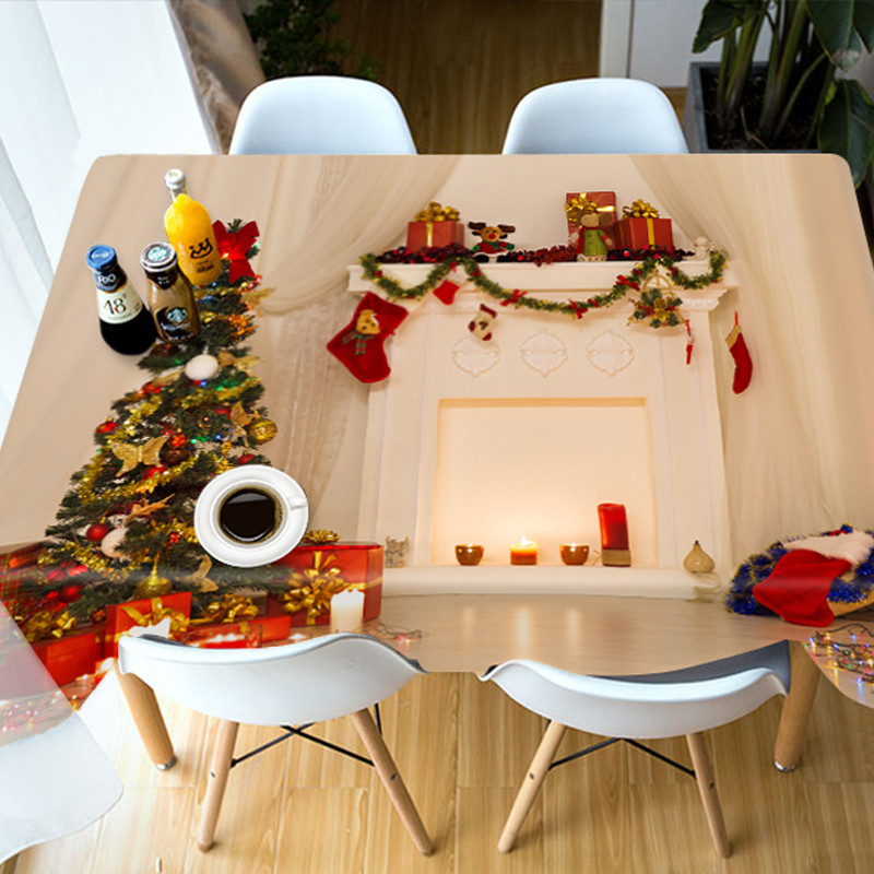 Waterproof Christmas European Style Polyester 3D Tablecloth