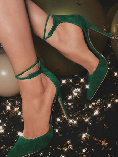 Milanoo Women High Heels Suede Dark Green Pointed Toe Ankle Strap Pumps