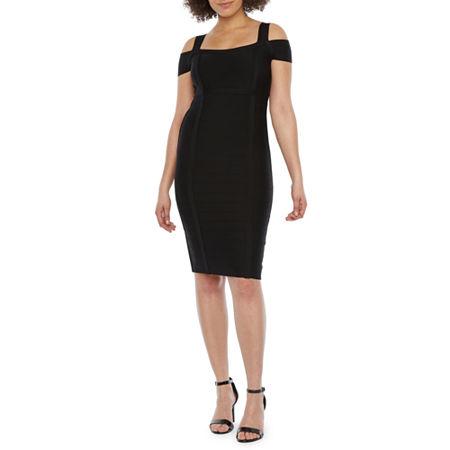 Bold Elements Short Sleeve Bodycon Dress, Medium , Black