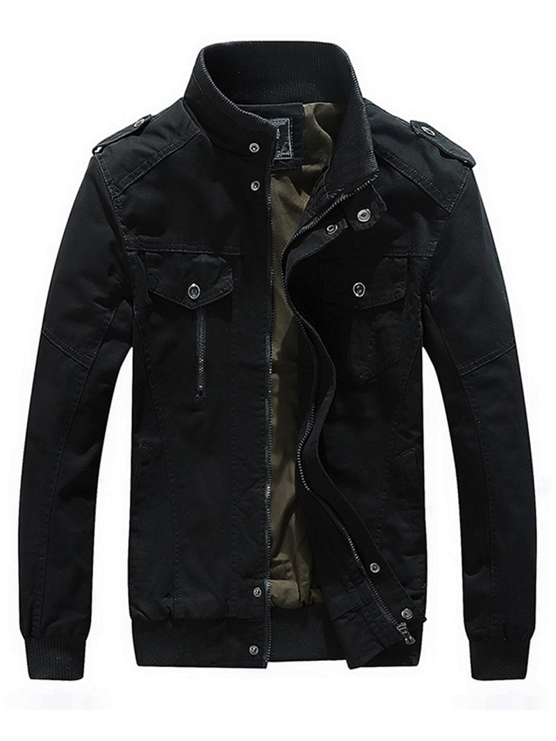 Ericdress Plain Stand Collar Thick Mens Casual Zipper Jacket