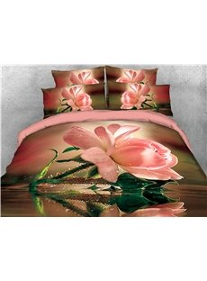 Pink Flower and Water Printed 4-Piece 3D Bedding Sets/Duvet Covers