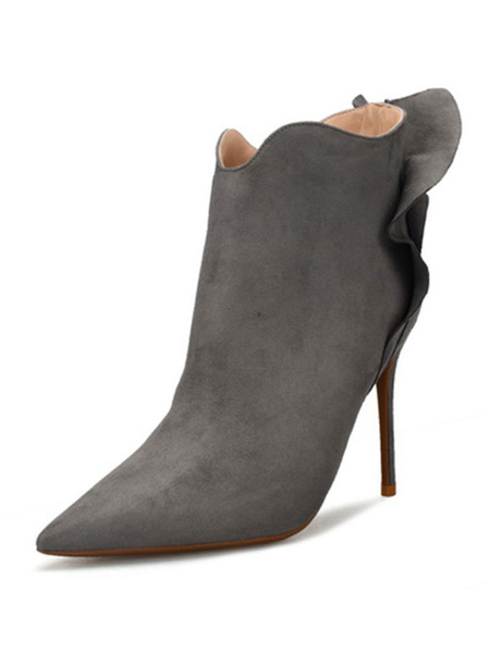 Milanoo Suede High Heels Women Pointed Toe Zip Up Ruffle Detail Ankle Boots Grey Winter Shoes