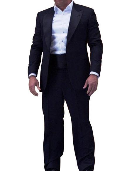 Men's 1 Button Single Breasted Midnight Blue Peak Lapel Tuxedo
