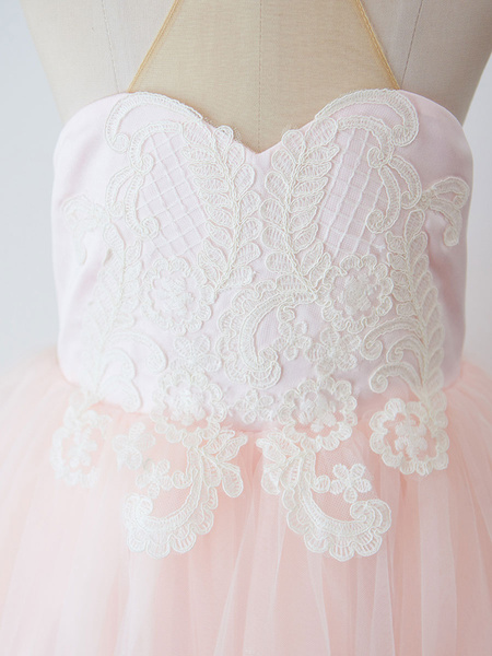 Milanoo Flower Girl Dresses High Collar Tulle Sleeveless Floor-Length Princess Silhouette Buttons Kids Party Dresses
