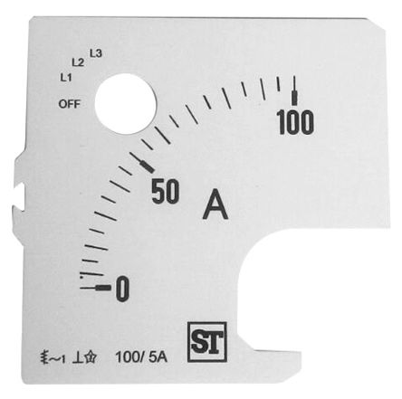 Sifam Tinsley Analogue Ammeter Scale, 100A, for use with 72 x 72 Analogue Panel Ammeter