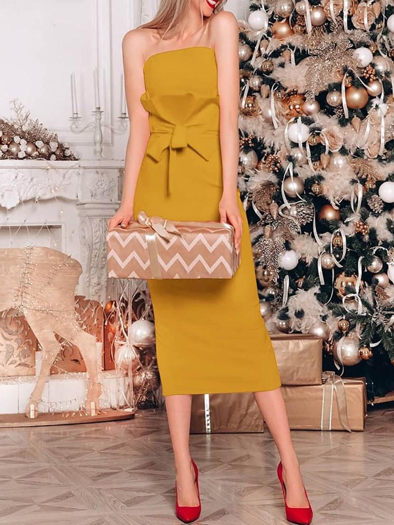 Ericdress Mid-Calf Sleeveless Bowknot Strapless Plain Dress