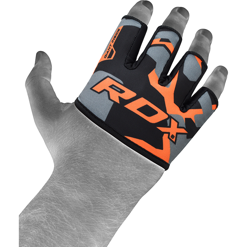 RDX 4O Anti-Slip Weightlifting Grips Sweat-Wicking Camouflage Orange/Black/Gray