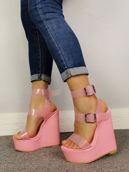 Milanoo Women\'s Wedge Sandals Pink Open Toe Buckle Wedge Shoes Jelly Sandal Shoes