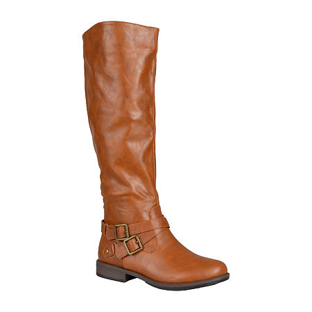 Journee Collection Womens April Wide Calf Riding Boots, 10 Medium, Brown
