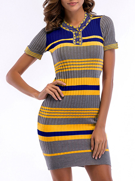 Milanoo Knitted Dress Stripes Short Sleeves V Neck Bodycon Dress
