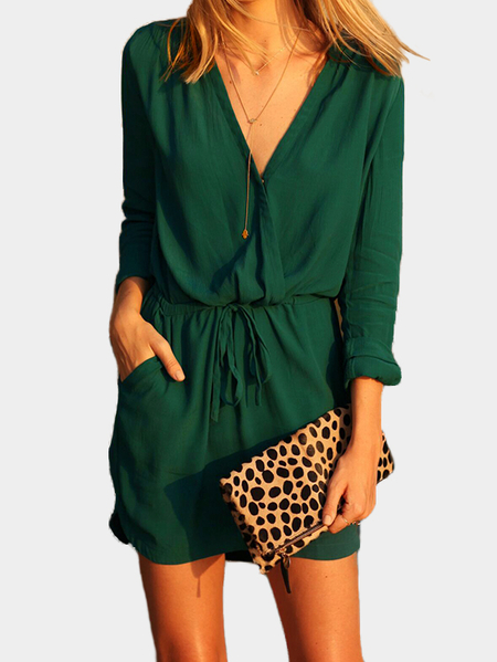 Yoins Green V-neck Drawstring Waist 3/4 Length Sleeves Wrap Dress with See-through Design