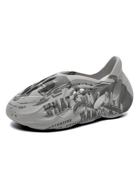 Milanoo Men\'s Sandals Slip-On Artwork PU Leather EVA Sole Men\'s Summer Sandals