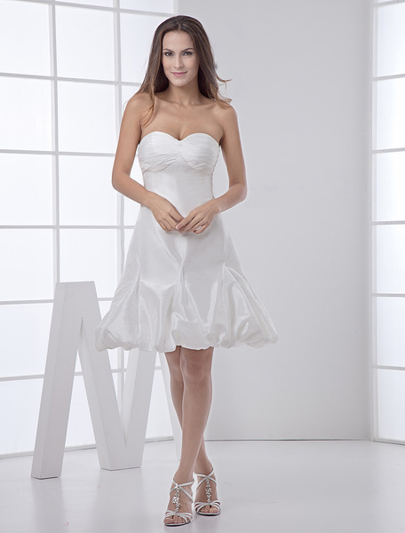 Milanoo Short White Bridal Wedding Dress with Sweetheart Neck A-line Pleated