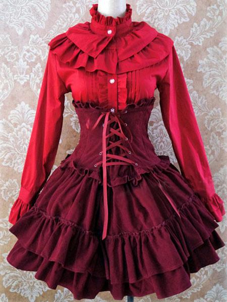 Milanoo Gothic Lolita Dress SK Lavender High Waist Lace Up Ruffles Lolita Skirt