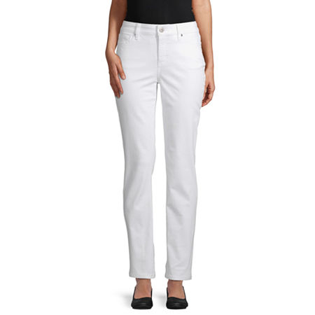 St. John's Bay Womens Mid Rise Straight Leg Jean, 8 Short , White