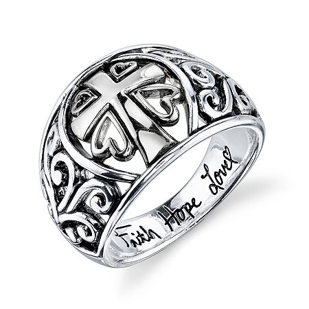 Inspired Moments Sterling Silver Scroll Cross Ring, 7 , No Color Family