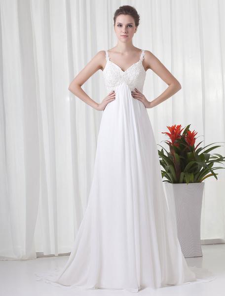 Milanoo White Chiffon Wedding Dress