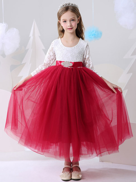 Milanoo Flower Girl Dresses Jewel Neck Lace Long Sleeves Ankle-Length Princess Silhouette Sash Kids Party Dresses