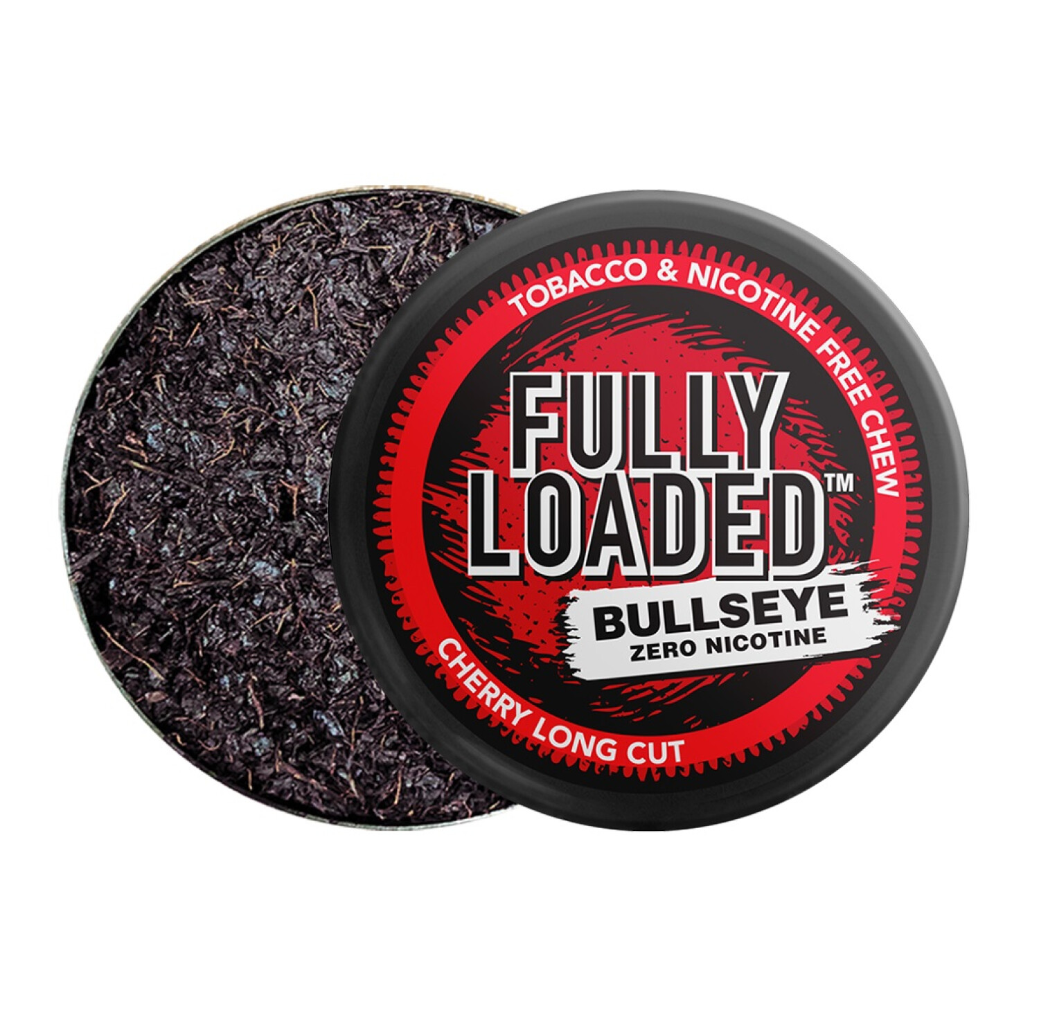 Fully Loaded Chew Tobacco and Nicotine Free Cherry Bullseye Long Cut Rich Flavor, Chewing Alternative