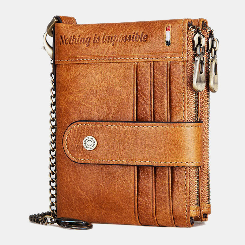 Men Genuine Leather RFID Chains Multi-slots Retro Large Capacity Foldable Card Holder Coin Wallet